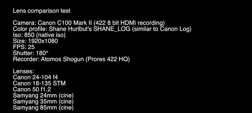 Comparativa entre lentes Samyang y Canon en una C100 Mark II