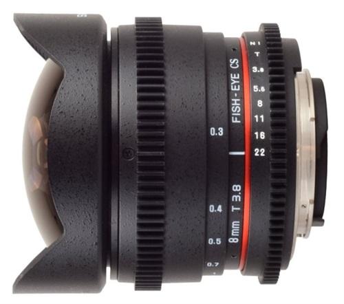 Samyang 8mm t/3.8 V-DSLR SC AS Ojo De Pez con montura Canon EF