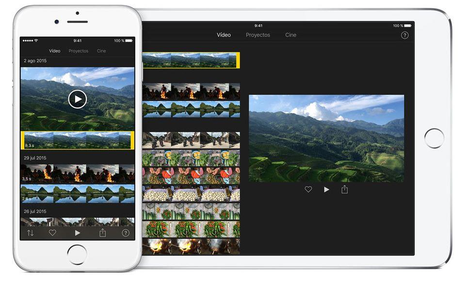 Pantallas principales de iMovie para el sistema operativo iOS