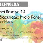 Curso DaVinci Resolve 14 con Blackmagic Micro Panel el 27 de mayo en Camaralia